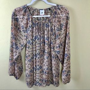 CAbi Sienna Long Sleeve Floral Peasant Top